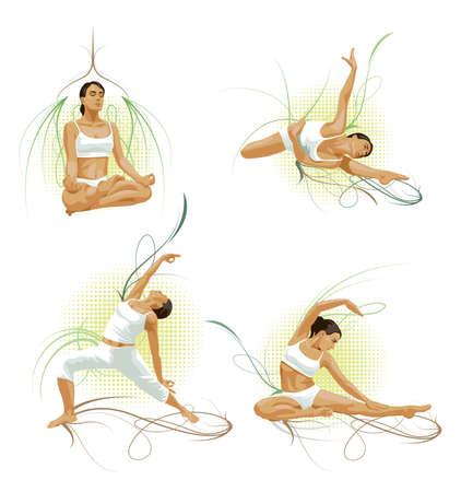 Woman going yoga Illustration