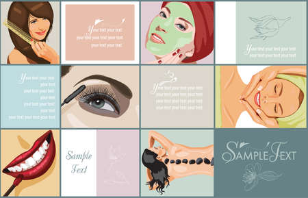 suntan: spa cosmetics and makeup women beauty Illustration