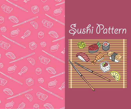 Sushi_Pattern_Pink Stock Vector - 9531401