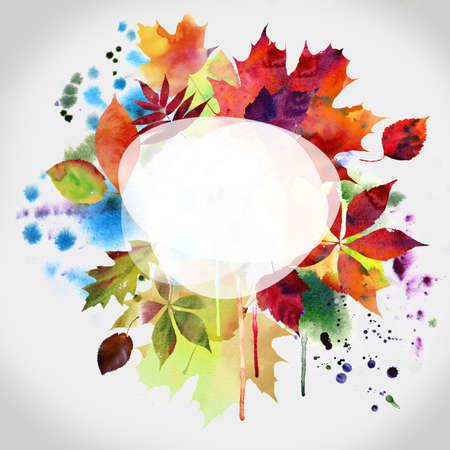 Floral autumn design, watercolor painting photo