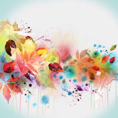 꽃 가을 디자인, 수채화 그림