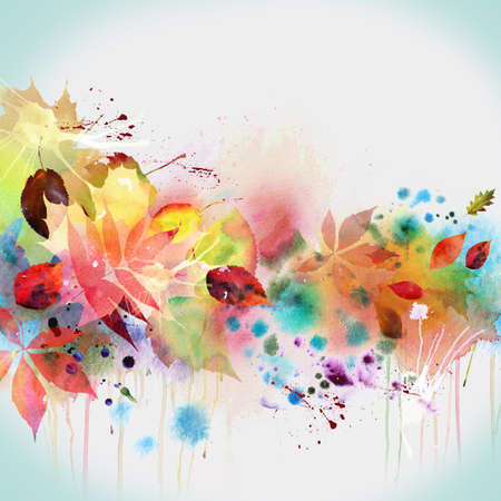 watercolor blue: Floral autumn design, watercolor painting Stock Photo