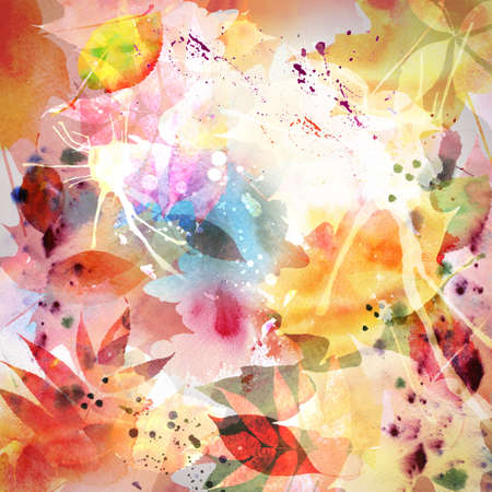 transparent brush: Floral autumn design, watercolor painting Stock Photo