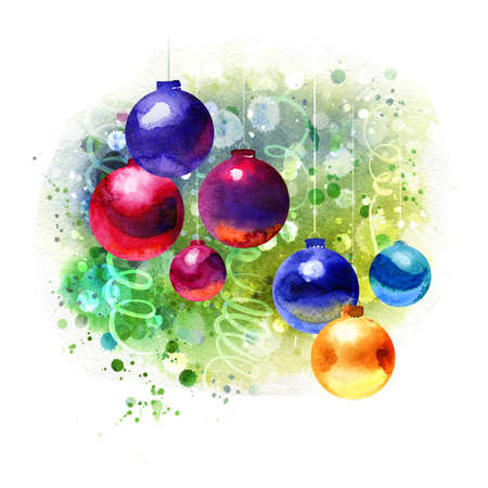 Beautiful Watercolor Christmas background, painting handmade