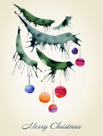 evergreen branch: Tarjeta de Navidad, una rama del �rbol, acuarela