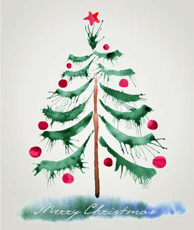Christmas tree, watercolor painting photo
