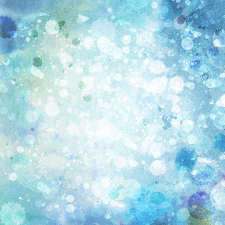 watercolor blue: Watercolor winter background, hand-painting  Stock Photo