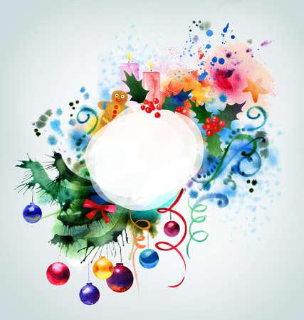 Beautiful Christmas watercolor background Stock Photo - 10798225