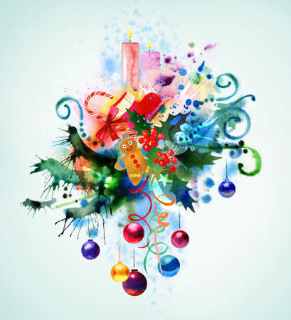 Beautiful Christmas watercolor background Stock Photo - 10798220