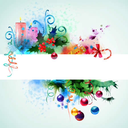 christmas candle: Beautiful Christmas watercolor background Stock Photo