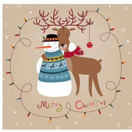 Christmas background with snowman and reindeer