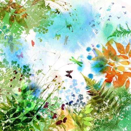 花春と夏のデザイン、水彩画