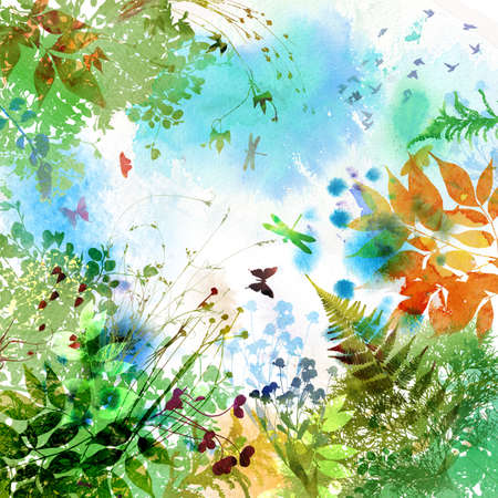 Floral spring and summer design, watercolor painting  photo