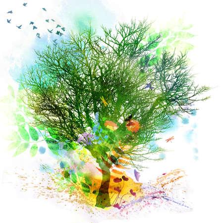 schmetterlinge blau wasserfarbe: Floral Frühjahr und Sommer Design, Aquarellmalerei Lizenzfreie Bilder