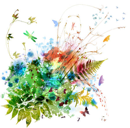 Floral spring and summer design, watercolor painting