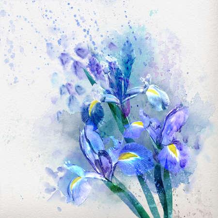Watercolor floral background, Beautiful irises