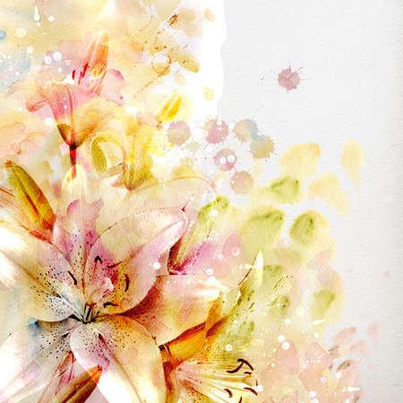 lirio acuatico: Acuarela pintura en colores pastel lirios
