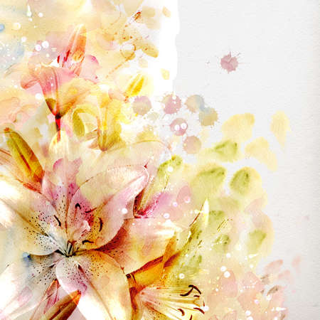 Watercolor painting  pastel lilies  photo