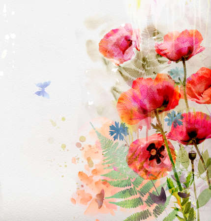 arty: Watercolor red poppies