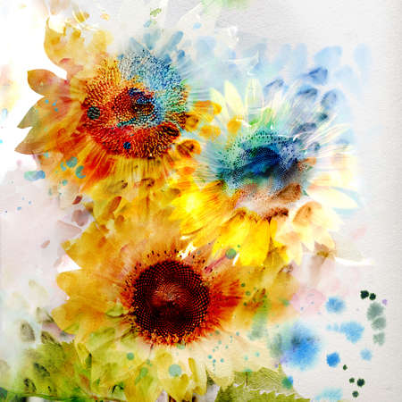 Watercolor painting. expressive sunflowers  Stock Photo