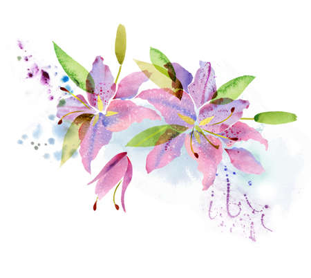 Beautiful background with watercolor flowers lily Imagens - 60343691