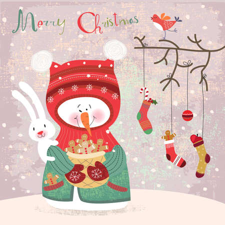 Merry Christmas and Happy New Year, greeting card  Vector