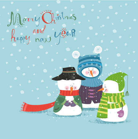 Merry Christmas and Happy New Year, greeting card  Illustration