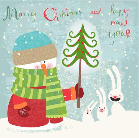 メリー クリスマスと新年あけましておめでとうございます、グリーティング カード