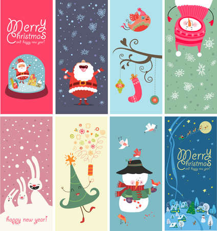 Christmas banners with funny characters