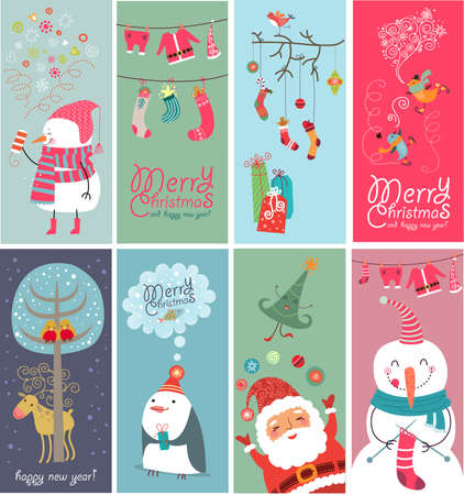 snowflake border: Christmas banners with funny characters