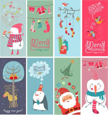 estrella caricatura: Navidad pancartas con caracteres extra�os