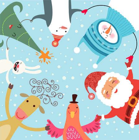 クリスマスの輪舞  イラスト・ベクター素材