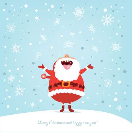 renos de navidad: Tarjeta de Navidad divertida con Santa
