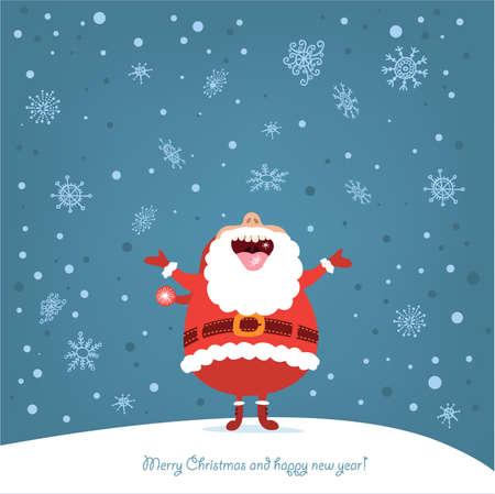 サンタと面白いクリスマス カード  イラスト・ベクター素材