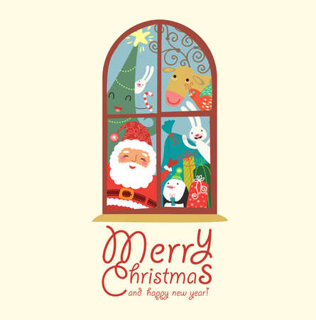 Funny and cute Christmas card Stock Vector - 16570593