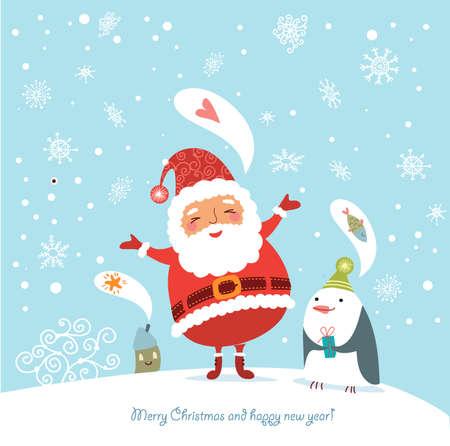 pinguinos navidenos: Divertida y linda tarjeta de Navidad Vectores