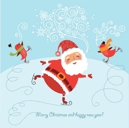 renos de navidad: Divertida y linda tarjeta de Navidad Vectores