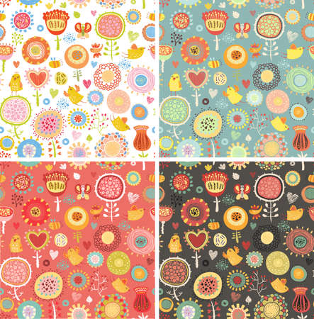 Set floral seamless patterns Vector