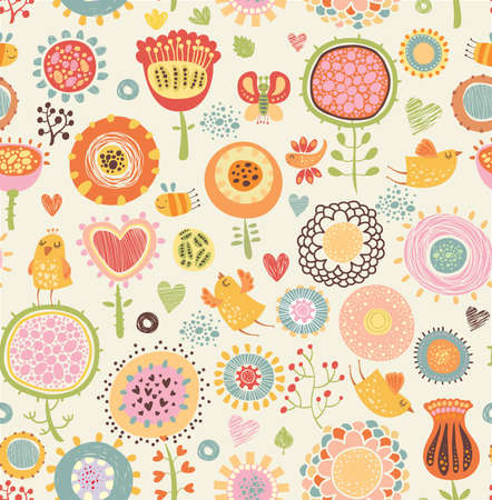 owl cartoon: Floral seamless pattern