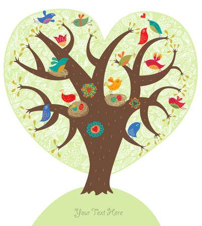 Romantic picture, love tree  Illustration