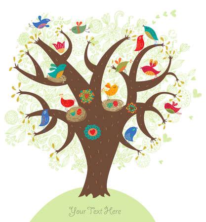 로맨틱 그림, 사랑 나무 일러스트
