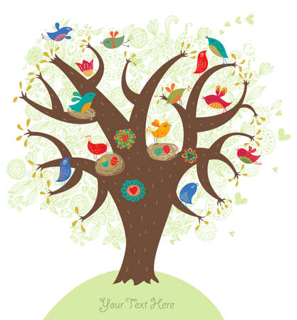 cage birds: Romantic picture, love tree  Illustration