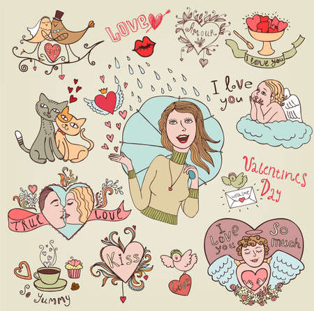 Set for your design, love and romantic  Vector