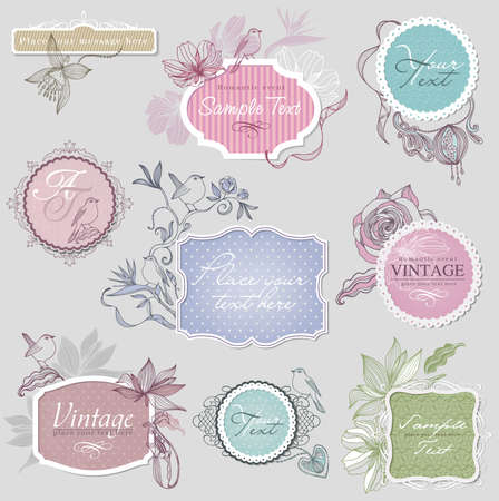 Vintage border set with birds Фото со стока - 16572207