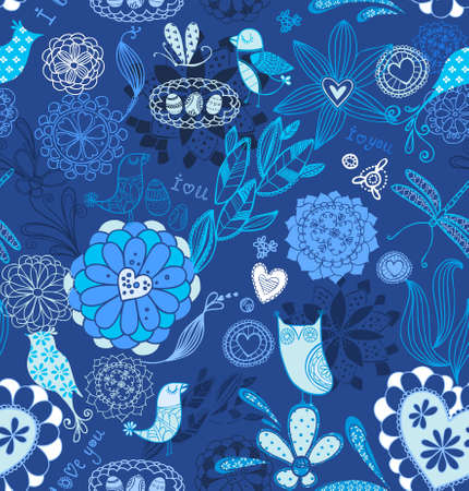 Floral background with birds. seamless pattern in vector  Vector