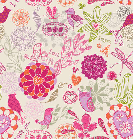 red wallpaper: Floral background with birds Illustration