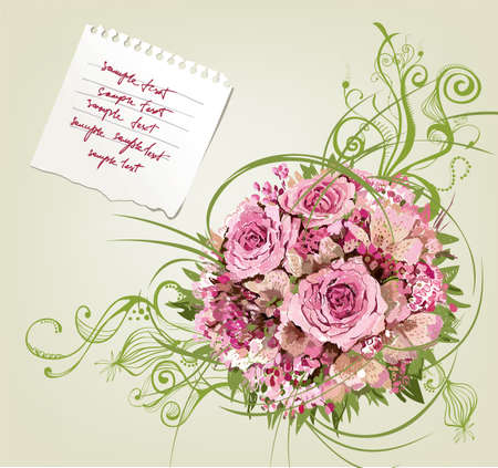 Beautiful floral background with paper for writing Vector