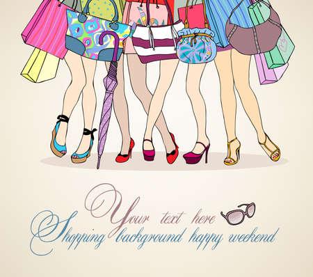 Women shopping background Vector