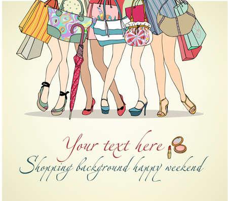 coat rack: Women shopping background Illustration
