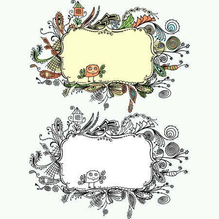 Ornamental border hand draw  Vector